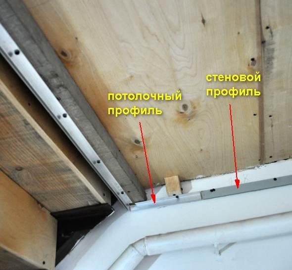 Обход лестницы на второй этаж на натяжном потолке профили
